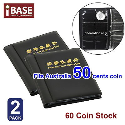 2x Coin Album Holder Storage Collection Collecting Stock Pocket 60 Slots 50 cent