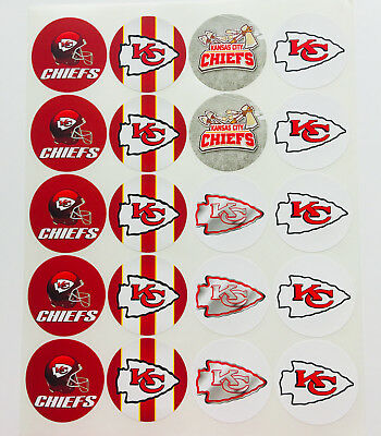 SET of 20- 2 KANSAS CITY CHIEFS ADHESIVE STICKERS-Make Cupcake Toppers