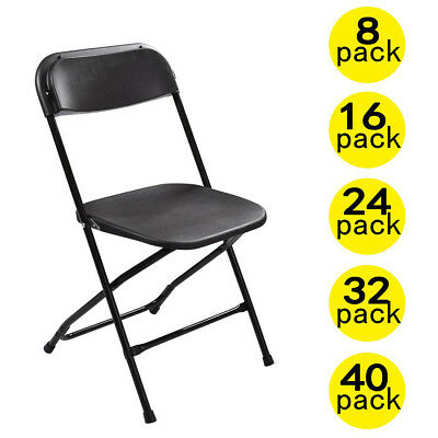 8 to 40 PACK Commercial Wedding Party Stackable Plastic Folding Chairs Black