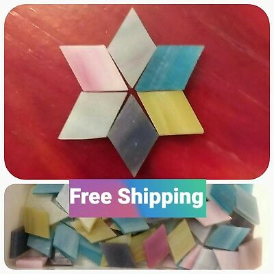 100 - 12 x 1 Diamond Mosaic Tiles Stained Glass Mixed Soft Colors Rhombus