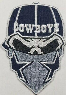 Dallas CowboysIron On Skull with Bandana PatchFree Shipping from the U-S-A-