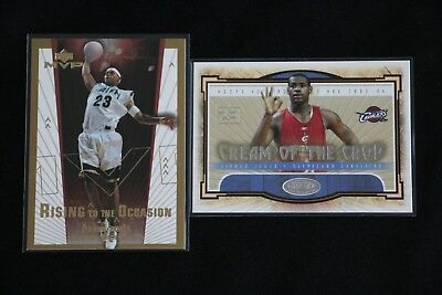 LEBRON JAMES RISING TO THE OCCASION AND CREAM OF THE CROP ROOKIE CARD LOT