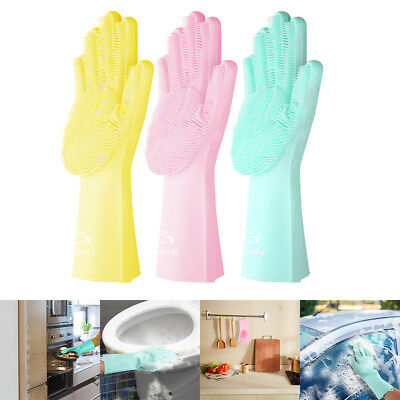 Easy Cleaing Magic Silicone Rubber Dish Washing Gloves Eco-Friendly Scrubber NJ