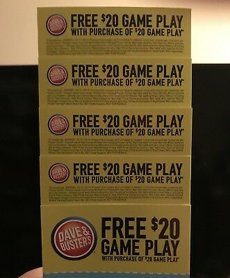 5 Dave And Busters 20 Game Play with 20 Game Play purchase Expires 33119