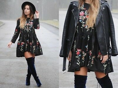 ZARA Black Embroidered Floral and Bird Swing Dress BLOGGER FAVORITE Sz XS