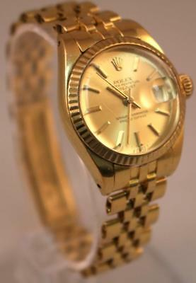 Vintage Solid Gold Rolex Watch Ladies Oyster Perpetual Datejust Yellow 18K C1982