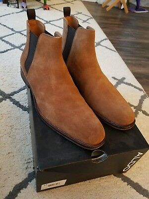 ALDO MARQ Mens Brown Genuine Leather Suede Chelsea Boots w Pull Tab 11