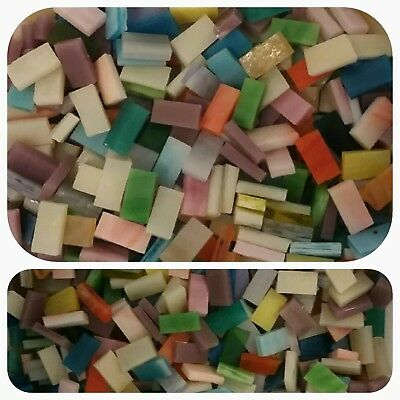 200 - 14 x 12 Mosaic Tiles Stained Glass Border Strips mixed pink blue more