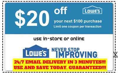 THREE 3x Lowes 20 OFF 100 Coupons Discount - In store-online - Fast Shipment