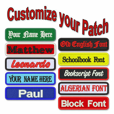 CUSTOM PATCH 4X1 IIRON ON  SEW ON PERSONALIZED EMBROIDERED BIKER BADGE ARMY