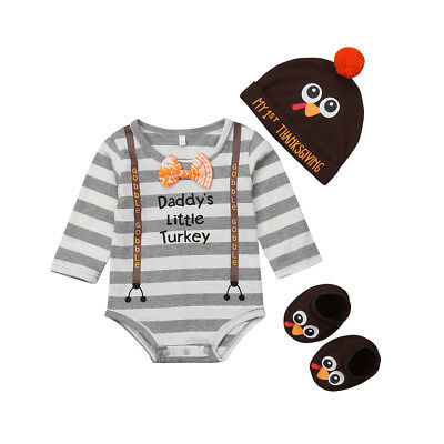 US Thanksgiving Day Newborn Baby Boy Girl Striped Romper-Hat-Shoes Outfit Set