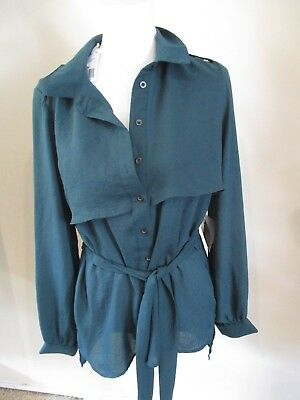 FOREVER 21 green tie belt  shirt top blouse sz L NEW NWT