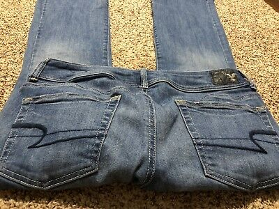 AE AMERICAN EAGLE OUTFITTERS KICK BOOT SUPER STRETCH WOMENS DESIGNER JEANS 10 S