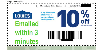 ONE 1x Lowes 10 OFF 1Coupon Lowes OnlineInStore -Fast-Delivery-In 1 MIN