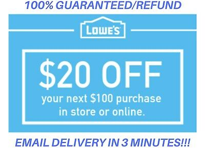 ONE 1x Lowes 20 OFF 100 1Coupon Lowes OnlineInStore -Fast-Delivery-In 1 MIN