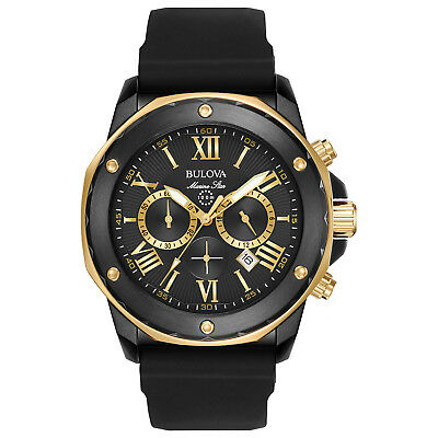 Bulova Marine Star Mens 98B278 Quartz Gold-Tone Accents Black 44mm Watch