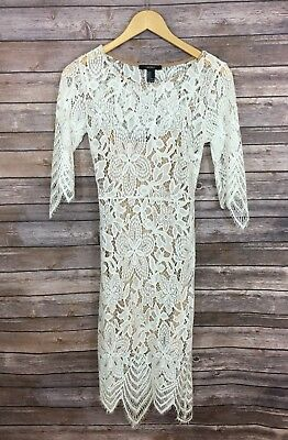 Womans Forever21 Medium Lace Open Back 12 Sleeve Midi Dress White