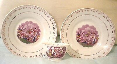 3 Pieces Pair Antique Pink Luster Polychrome Bowls With Polychrome Cup Romantic