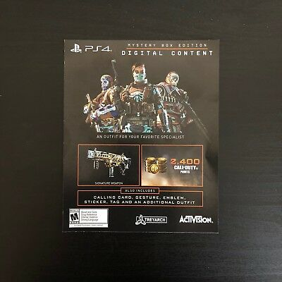Black Ops 4 Mystery Edition Exclusive DLC Call Of Duty Digital Content Box PS4
