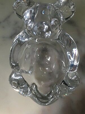 VTG Art Vannes France Crystal Bear Figurine Paperweight Candy Bowl 5 tall
