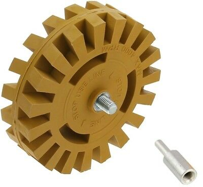 Decal Removal Eraser Wheel w Power Drill Arbor Adapter 4 inch Rubber Pinstripe