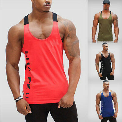 Gym Men Bodybuilding Tank Top Muscle Stringer Athletic Fittness Shirt Clothes US