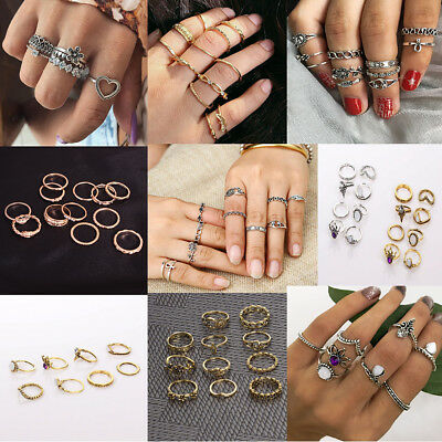US Bulk Lot Knuckle Stacking Bands Midi Mid Above Joint Rings Punk Finger Tip