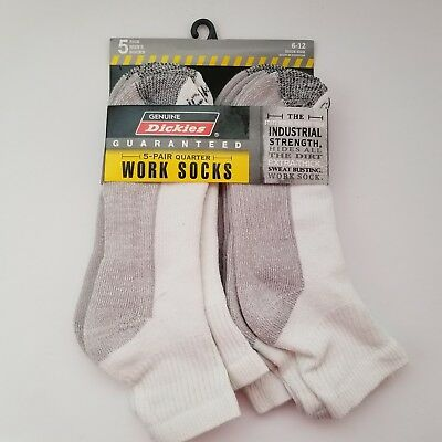 5 Pair Dickies® Crew Work Socks Dri-Tech Mens 6-12 Extra Thick Reinforced White