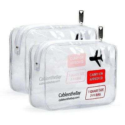 Cableinthebay TSA Approved Clear Travel Toiletry Bag2PACKClear Travel Bags-
