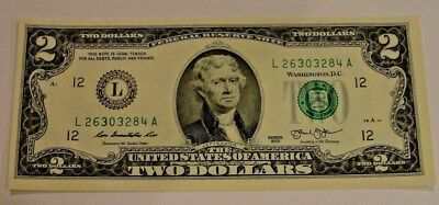 2-00 NOTE CRISP NEW TWO 2 DOLLAR BILL UNCIRCULATED MAKES A GREAT GIFT