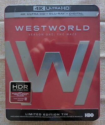Westworld Season One The Maze Limited Edition Tin 4K Ultra HD Blu-ray 2017 New