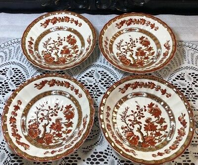 4 Spode England Indian Tree 6 18 Cereal Coupe Bowls