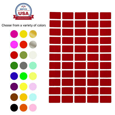 Rectangle Color Coding Labels 1 Inch x 0-625 Inch Removable Writable Stickers