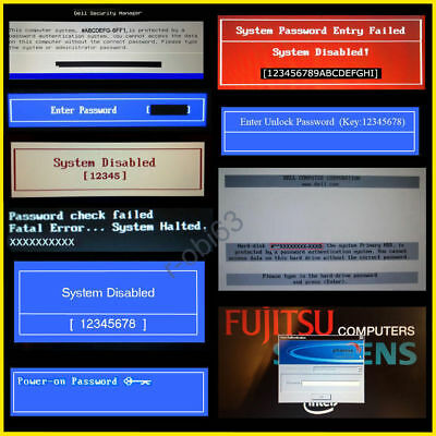 DELL HP ACER SONY FUJITSU BIOS PASSWORD UNLOCK SERVICE 1D3B 1F66 6FF1