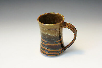 Pottery Hand Made Wheel Thrown- Coffee Mug Amber - White Glaze - Rollins
