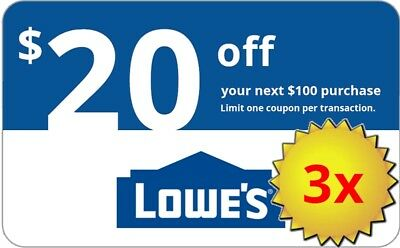 Three 3x Lowes 20 OFF 100Coupons-InStore and Online -Fast-Delivery-