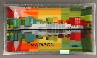 PEGGY KARR Fused Glass MADISON WISCONSIN PARK 13-75 x 8 Serving Plate Dish