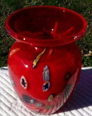VINTAGE RUBY RED MURANO  VASE EXCELLENT  CONDITION