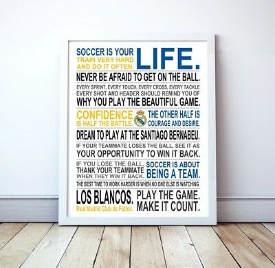 Real Madrid Soccer Is Your Life Manifesto Poster 16 x 20