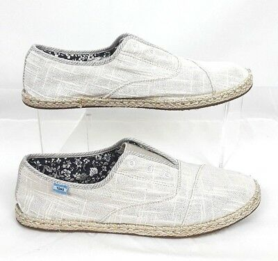 TOMS Womens SIZE 9 Light Gray Ivory Faux Eyelets Espadrilles Slip On Flat Shoes