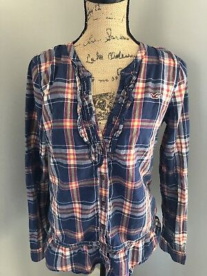 HOLLISTER CO WOMENS FLANNEL PLAID SHIRT LARGE L BLUE AND RED LONG SLEEVE