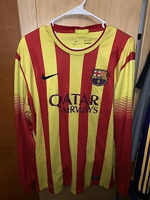 FC Barcelona Jersey Long Sleeve RedYellow Size Large