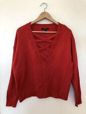 Used Forever21 Womens Size M Red Strappy V-Neck Sweater-knit Top