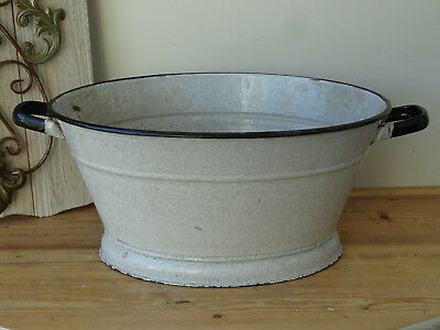 3367 Alter Emaille Email Topf Old Enamelware Pot Metallobjekte