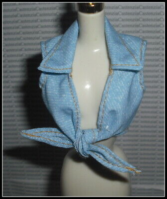 TOP BARBIE DOLL COOL SHOPPIN  BLUE - WHITE TIE CROP SHIRT ACCESSORY CLOTHING