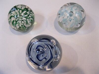 LOT OF 3 Vintage Blown Art Glass Paper Weight Flower Controlled Bubble