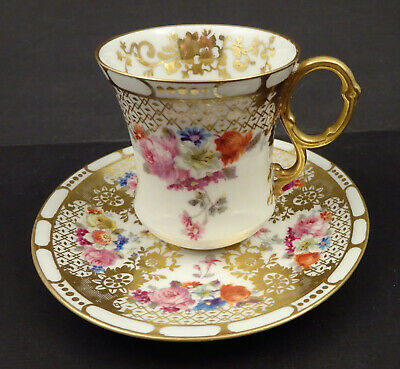 Antique Limoges Floral Chocolate Cup - Saucer