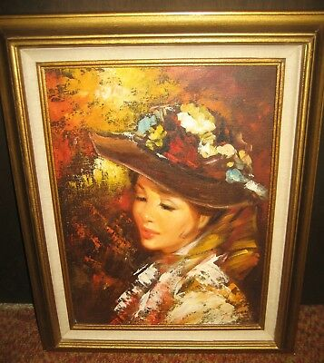 BEAUTIFUL LADY WITH FLOWERED HAT Embellished Serigraph on Canvas  Framed