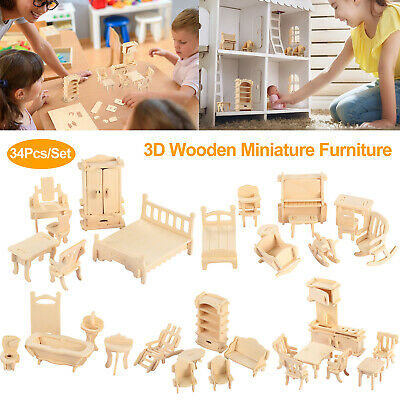 Mini 3D Wooden Puzzle DIY 34 Pcs Miniature 112 Dollhouse Furniture For Doll US