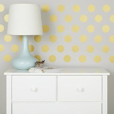 Polka Dots CIRCLE Gold Dot Vinyl Wall Decal Peel And Stick Sticker Nursery